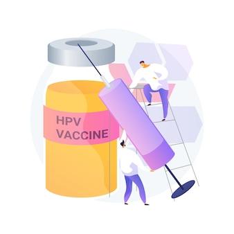 Ilustracja wektorowa abstrakcyjna koncepcja szczepień przeciwko hpv. ochrona przed rakiem szyjki macicy, program szczepień przeciwko wirusowi brodawczaka ludzkiego, szczepienia przeciwko wirusowi hpv, zapobieganie abstrakcyjnej metaforze infekcji.