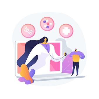 Ilustracja wektorowa abstrakcyjna koncepcja telezdrowia. wirtualna opieka medyczna, zdalne przyjęcie, porady lekarskie, wizyta telezdrowia, blokada pandemii koronawirusa, abstrakcyjna metafora dystansowania społecznego.