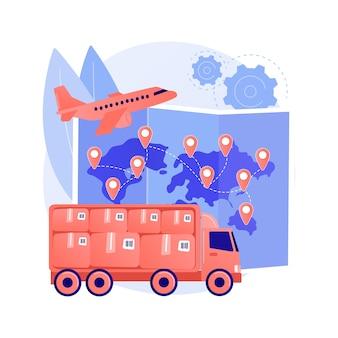 Ilustracja wektorowa abstrakcyjna koncepcja transportu międzynarodowego. międzynarodowa przesyłka priorytetowa, ubezpieczona dostawa na całym świecie, usługa pocztowa, system transportu, abstrakcyjna metafora śledzenia przesyłki online.