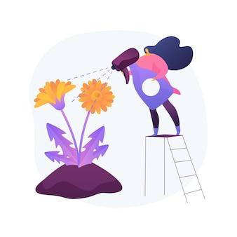 Ilustracja wektorowa abstrakcyjna koncepcja usuwania mniszka lekarskiego. pielęgnacja ogrodu, trawnik wolny od chwastów, selektywne stosowanie herbicydów, organiczne ogrodnictwo, nasiona traw, koszenie trawników, abstrakcyjna metafora podwórka.