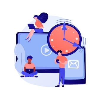 Ilustracja wektorowa abstrakcyjna koncepcja uzależnienia ekranu. przeciążenie cyfrowe, uzależnienie od informacji, uzależnienie od smartfonów, uzależnienie od ekranu, uzależnienie od telefonu komórkowego, abstrakcyjna metafora zaburzeń psychicznych.