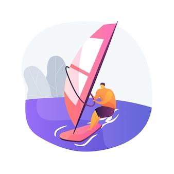 Ilustracja wektorowa abstrakcyjna koncepcja windsurfingu. sporty wodne, ekstremalny styl życia, morska przygoda, kitesurfing, fale oceanu, wakacje na plaży, sportowiec żeglowania, metafora tropikalnego wiatru.
