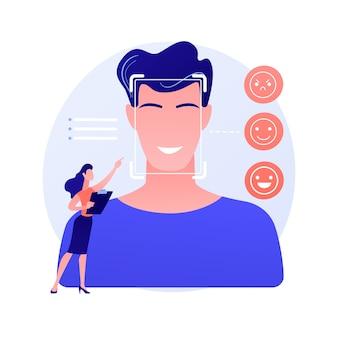 Ilustracja wektorowa abstrakcyjna koncepcja wykrywania emocji. mowa, rozpoznawanie stanów emocjonalnych, wykrywanie emocji z tekstu, technologia czujników, uczenie maszynowe, abstrakcyjna metafora czytania twarzy ai.