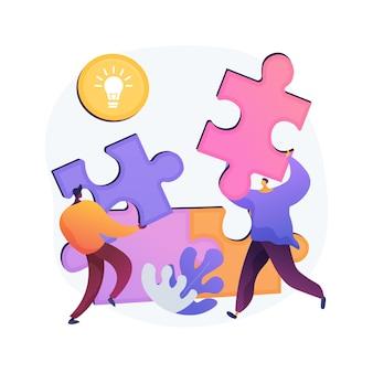 Ilustracja wektorowa abstrakcyjna koncepcja wzajemnej pomocy. program wzajemnej pomocy, pomoc sobie, wsparcie biznesu, bankowość mobilna, praca zespołowa, grupa ludzi, uścisk dłoni abstrakcyjna metafora.