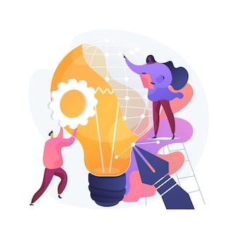Ilustracja wektorowa abstrakcyjna koncepcja wzornictwa przemysłowego. projektowanie użyteczności produktu, rozwój ergonomii, koncepcja, inżynieria funkcji i wyglądu, ulepszanie abstrakcyjnej metafory produkcji masowej.