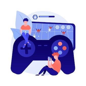 Ilustracja wektorowa abstrakcyjna koncepcja zaburzenia w grach. uzależniony od gier wideo, zmniejszona koncentracja uwagi, uzależnienie od gier, zaburzenia zachowania, zdrowie psychiczne, abstrakcyjna metafora stanu zdrowia.