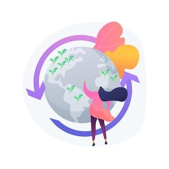 Ilustracja wektorowa abstrakcyjna koncepcja zarządzania holistycznego. strategia stad zwierząt gospodarskich, poprawa funkcji ekosystemu, budowanie bioróżnorodności, abstrakcyjna metafora zarządcy gruntów.