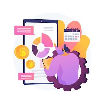 Ilustracja wektorowa abstrakcyjna koncepcja zarządzania wydatkami mobilnymi. system kontroli opłat, sprawdzanie urządzeń satelitarnych, sieć komórkowa, ekonomia przedsiębiorstwa, abstrakcyjna metafora zarządzania kosztami telefonii.