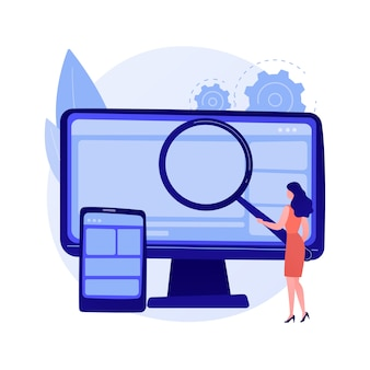 Ilustracja wektorowa abstrakcyjne pojęcie eksploracji danych. badanie danych, eksploracja informacji, pozyskiwanie hurtowni informacji, technika zbierania, znajdowanie wzorców, sztuczna inteligencja, abstrakcyjna metafora uczenia maszynowego.