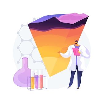 Ilustracja wektorowa abstrakcyjne pojęcie geochemii. geochemia organiczna, nauki o ziemi stosowane, badania ropy naftowej, mineralogia, badanie pierwiastków śladowych, abstrakcyjna metafora eksploracji gleby wodnej.