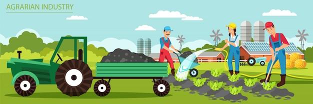 Ilustracja wektorowa agrarny przemysł płaski transparent.