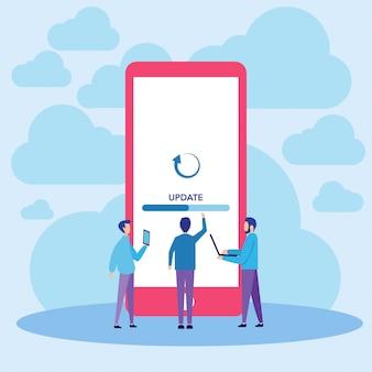 Ilustracja wektorowa aktualizacji systemu mobilnego