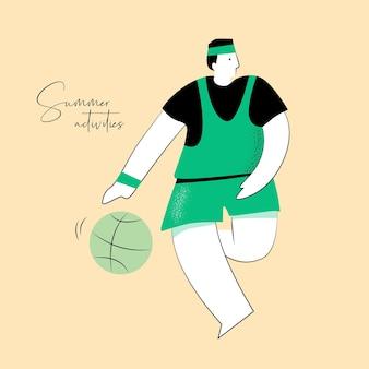 Ilustracja wektorowa aktywności letniej człowieka grającego w koszykówkę dla tożsamości marki lub projektowania stron internetowych