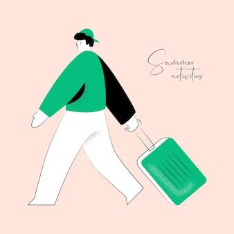 Ilustracja wektorowa aktywności letniej człowieka z walizką dla tożsamości marki lub projektowania stron internetowych
