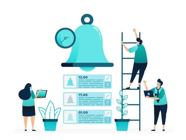 Ilustracja wektorowa alarmów przypomnienia o czasie programu w aplikacjach mobilnych. powiadomienia planu i dzwonki planowania. pracownicy kobiet i mężczyzn. zaprojektowany dla strony internetowej, strony internetowej, strony docelowej, aplikacji, interfejsu użytkownika, plakatu, ulotki