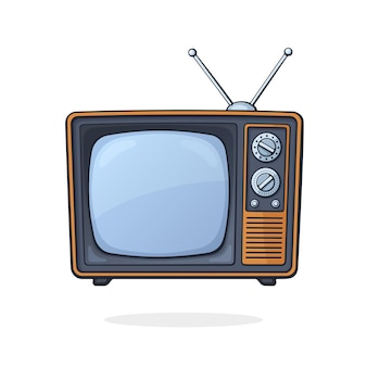 Ilustracja wektorowa analogowy telewizor retro z kanałem antenowym i selektorem sygnału