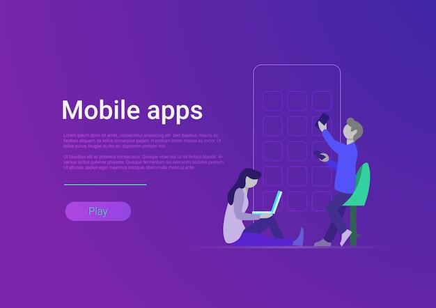 Ilustracja wektorowa aplikacji mobilnej w stylu płaskim projektowanie aplikacji i tworzenie stron internetowych