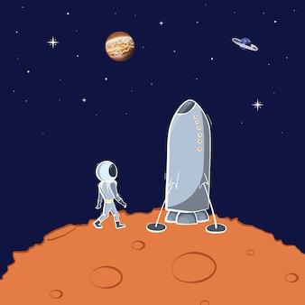 Ilustracja wektorowa astronauty unoszący się w przestrzeni. koncepcja eksploracji planety