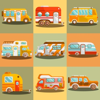 Ilustracja wektorowa autobus kempingowy lub samochód kempingowy