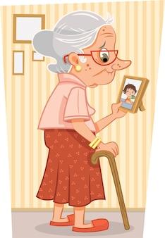 Ilustracja wektorowa babci patrząc na jej zdjęcie wnuczek