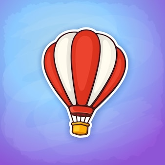 Ilustracja wektorowa balon na ogrzane powietrze w czerwono-białe paski na niebie naklejka transportu lotniczego
