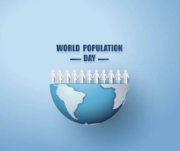 Ilustracja wektorowa, baner lub plakat światowego dnia ludności. styl cięcia papieru
