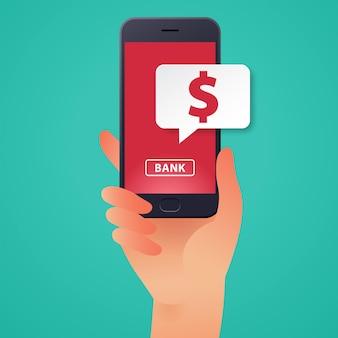Ilustracja wektorowa bankowości mobilnej online z ręką trzymającą ikonę smartfona i waluty