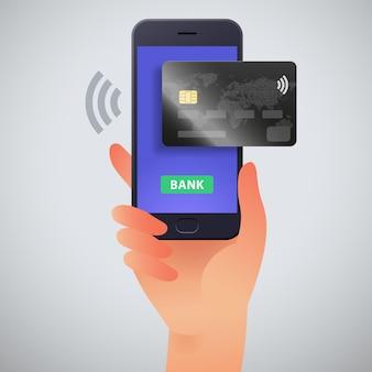 Ilustracja wektorowa bankowości mobilnej z ręką trzymającą smartfon i kartę kredytową