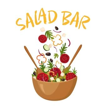 Ilustracja wektorowa bar sałatkowy