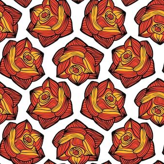 Ilustracja wektorowa bezszwowe maswerk z różami. halloween tło na zaproszenie na przyjęcie, kartkę z życzeniami, plakat.
