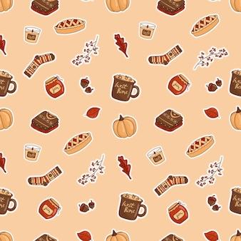 Ilustracja wektorowa bezszwowego wzoru doodle ikony-naklejek na temat jesieni. ciepłe kolory, przytulny styl kreskówek.