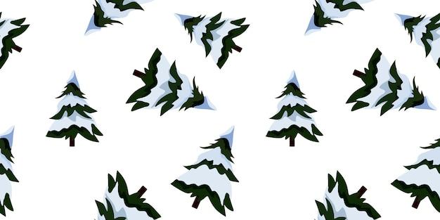 Ilustracja wektorowa. bezszwowy obraz choinki ze śniegiem na gałęziach w stylu cartoon.