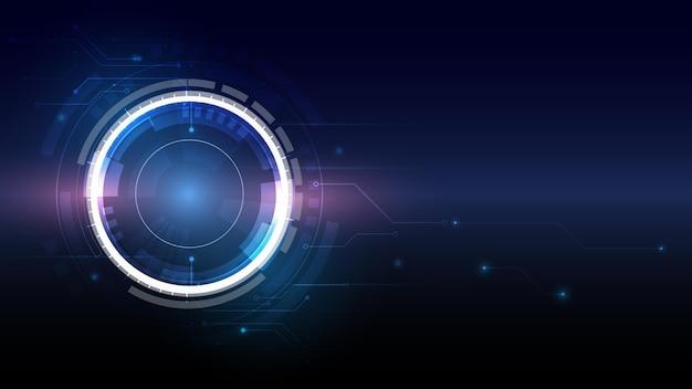 Ilustracja wektorowa białe koło zębate na płytce drukowanej hitech cyfrowa technologia i inżynieria abstrakcyjna futurystyczna technologia na niebieskim tle koloru