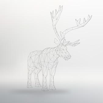 Ilustracja wektorowa big buck strukturalna siatka wielokątów streszczenie tło wektor jelenia