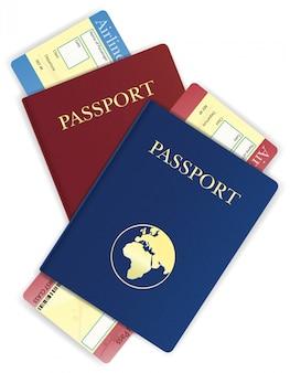 Ilustracja wektorowa bilet paszportowy i lotniczy