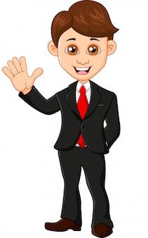 Ilustracja wektorowa biznesmen macha ręką