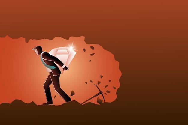 Ilustracja wektorowa biznesmena niosącego duży diament na plecach z podziemia
