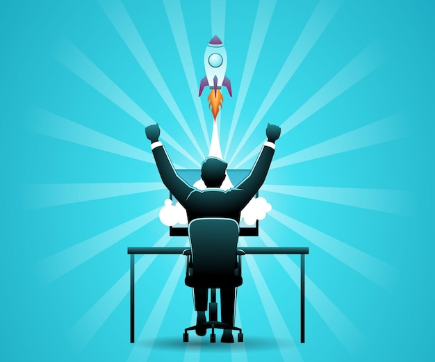 Ilustracja wektorowa biznesmena siedzącego na biurku komputerowym z wystrzeleniem rakiety z ekranu komputera