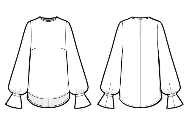Ilustracja wektorowa bluzki damskiej