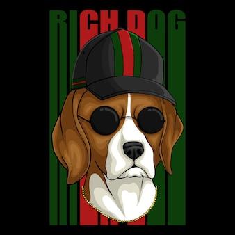 Ilustracja wektorowa bogaty pies rasy beagle
