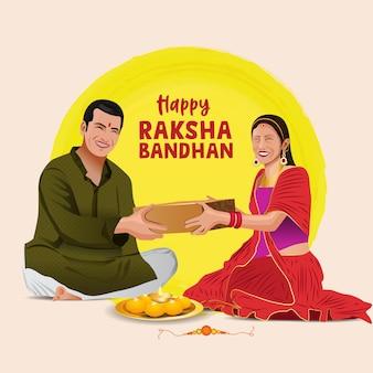 Ilustracja wektorowa brata i siostry wiązania zdobionych rakhi na indyjski festiwal raksha bandhan
