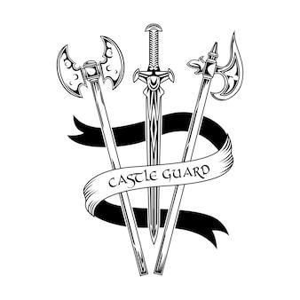 Ilustracja wektorowa broni dzielnych rycerzy. miecz i topory, tekst strażnika zamku na wstążce. koncepcja ochrony i ochrony szablonów emblematów lub odznak