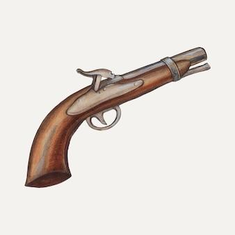 Ilustracja wektorowa broni w stylu vintage, zremiksowana na podstawie grafiki autorstwa jay katz