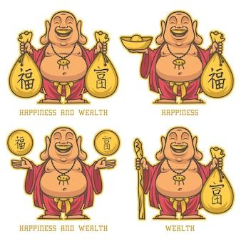 Ilustracja wektorowa, budda daje bogactwo i szczęście, format eps 10