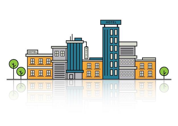 Ilustracja wektorowa: budynek linii. linia miejska. projektowanie linii hotelowych