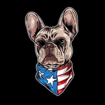 Ilustracja wektorowa buldoga francuskiego z fajnym stylem kreskówki amerykańską flagę na czarnym tle