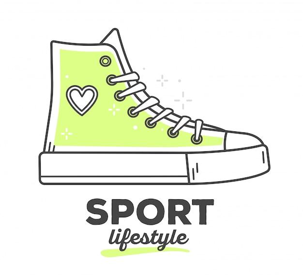 Ilustracja wektorowa butów sneakers kreatywnych sportu z tekstem na białym tle. sportowy styl życia