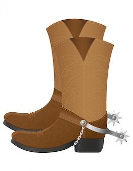 Ilustracja wektorowa buty kowbojskie