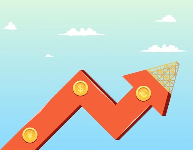 Ilustracja wektorowa cartoon gospodarka firmy wzrostu