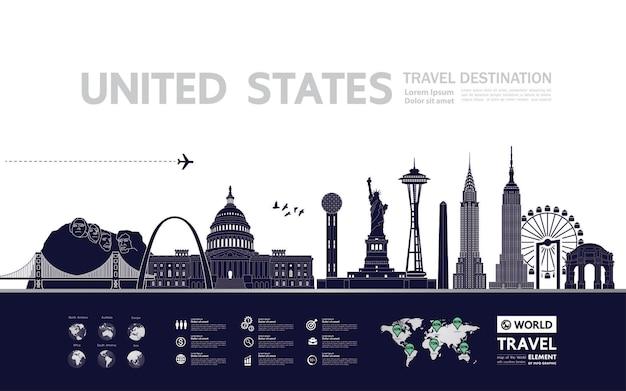 Ilustracja wektorowa cel podróży stany zjednoczone.